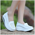 Spring Summer Woman Genuine Leather Women's Shoes hollow out nurse shoes swing work single shoes lady's heel platform shoes
