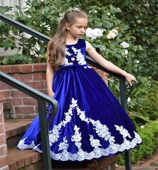 JaneVini Vintage bleu Royal filles robes 2018 blanc Applique velours longue princesse enfants fleur fille robes pour les mariages vacances - 3