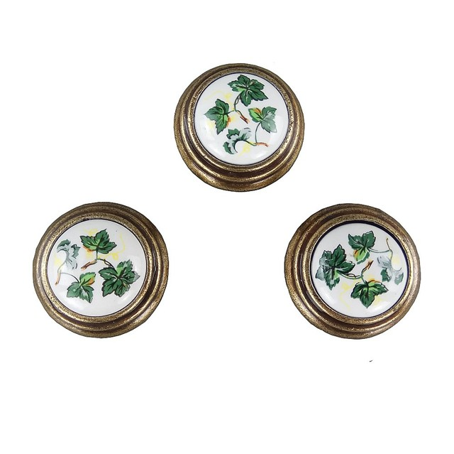 Antique Green Leaves Ceramics S Furniture Small Door Drawer Wardrobe Kitchen Cabinets Cupboard Dresser Handles Pull