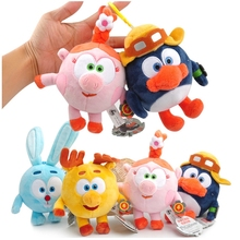 4pcs Malyshariki Smeshariki Stuffed Animals penguin rabbit deer pigs Plush font b Toys b font Pendant