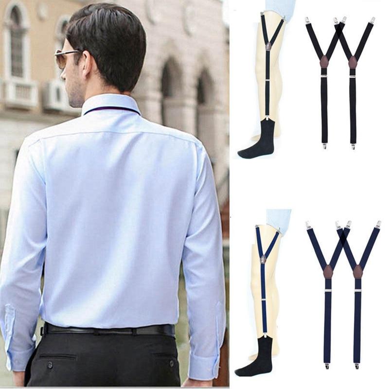 Y Style Men Elastic Band Garters Non Slip Socks Shirt Stays Holder Suspender Non-Slip Locking Clamps