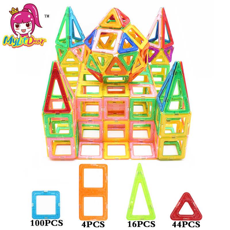 2017 MyLitDear 164 шт. Большие Размеры магнитные игрушки строительные блоки DIY Пластиковые дизайнерские магниты Развивающие игрушки для детей
