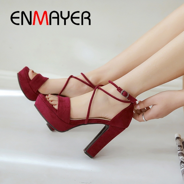 ENMAYER 2019 New Arrival  Basic  Party Women Summer High Heel Platform Sandals Buckle Strap  Solid Women Shoes Size 34-43 LY1848
