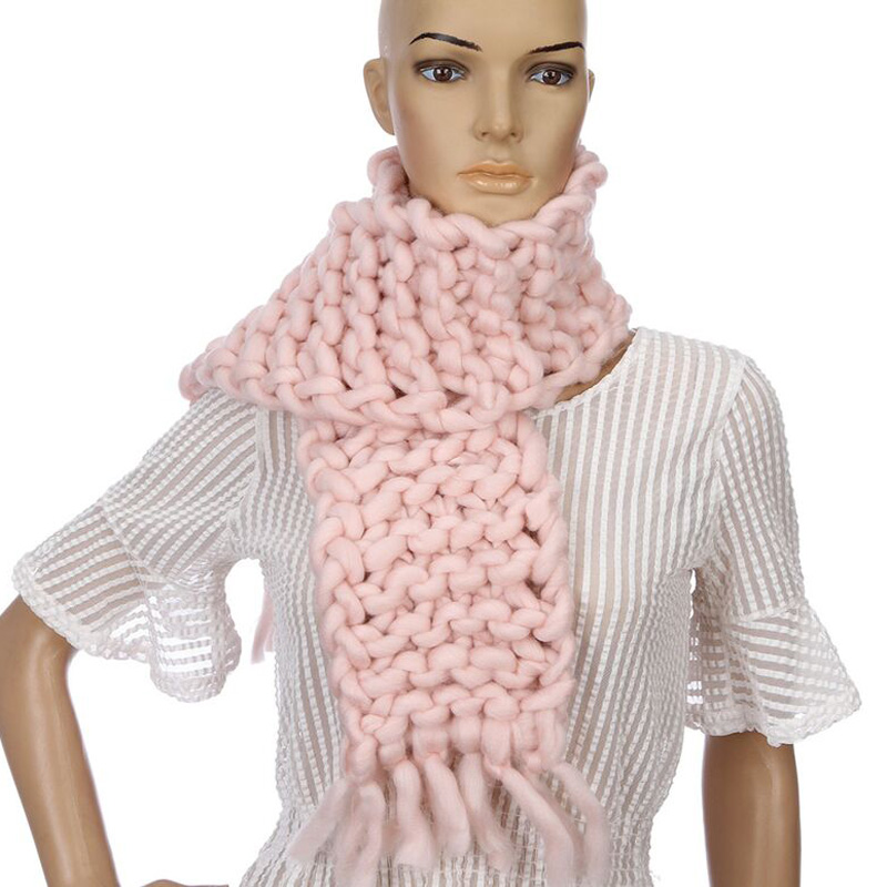 New Handmade Coarse Wool Solid Color Knitted Winter Scarf Students Couple Scarf