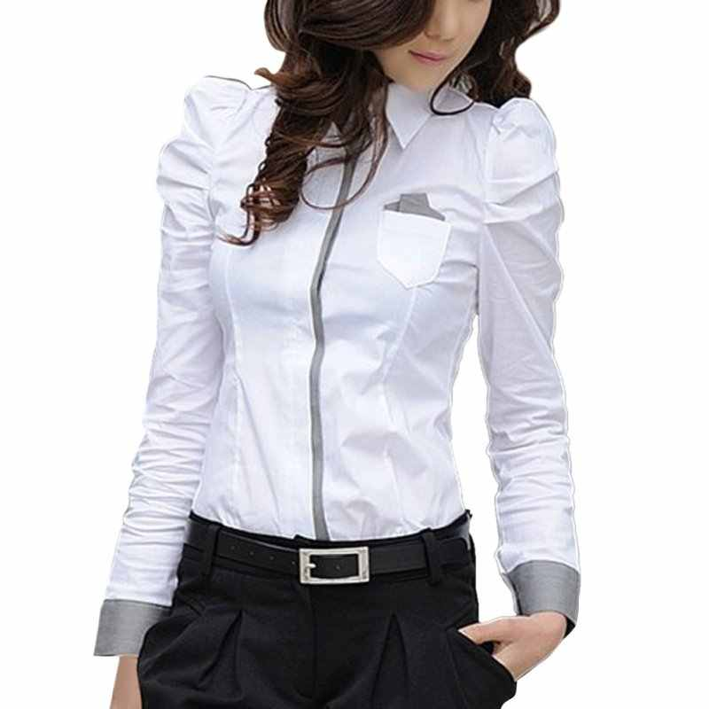 N Mode Elegante Vrouwen Office Lady Formele Button Down Blusas Shirt Lange Mouw Wit Tops Blouse 2019