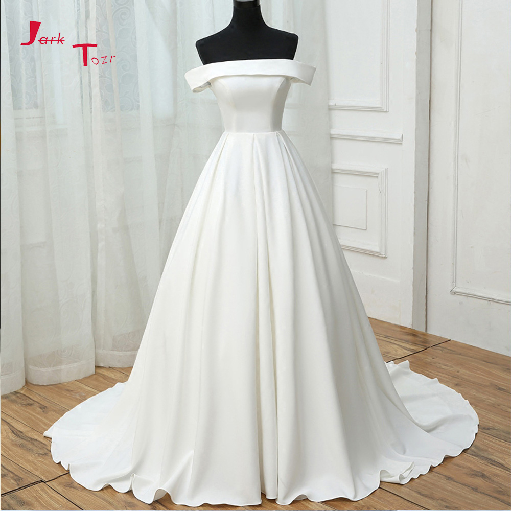 Jark Tozr Custom Made Simple Bridal Gowns 2019 Vestido De Casamento Strapless Short Sleeve Satin A-line Wedding Dresses Turkey