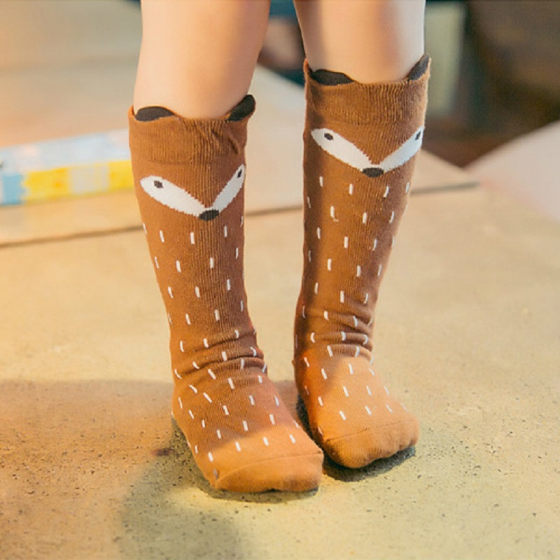 Cartoon Cute Kids Socks Bear Animal Baby Cotton Socks Knee High Long Legwarmers Cute Socks Boy Girl Children Socks 0-6 Y