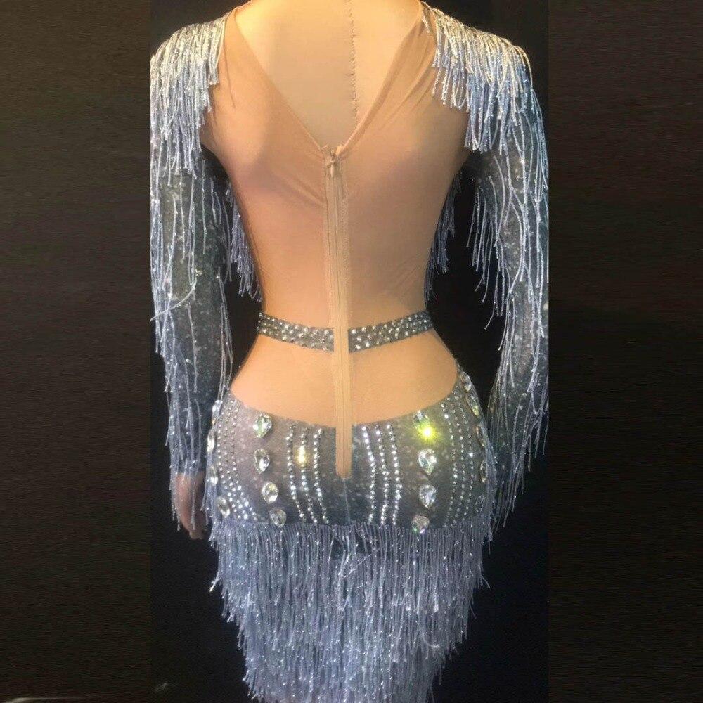 De Vaina Gris Transparente Fiesta Malla Vestido Diamantes Traje Cantante Etapa Adultos Imitación Elástico Dj Vestidos SwEq1azzx