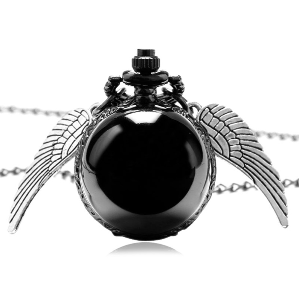 DropShipping Smooth Black Round Ball Quartz Angel Wings Pocket Watch Women Men Sweater Necklace For Kids