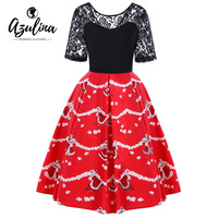 AZULINA Christmas Lace Yoke Lace Floral Swing Dress Women Retro 50s Rockabilly Robe Female Vestidos De