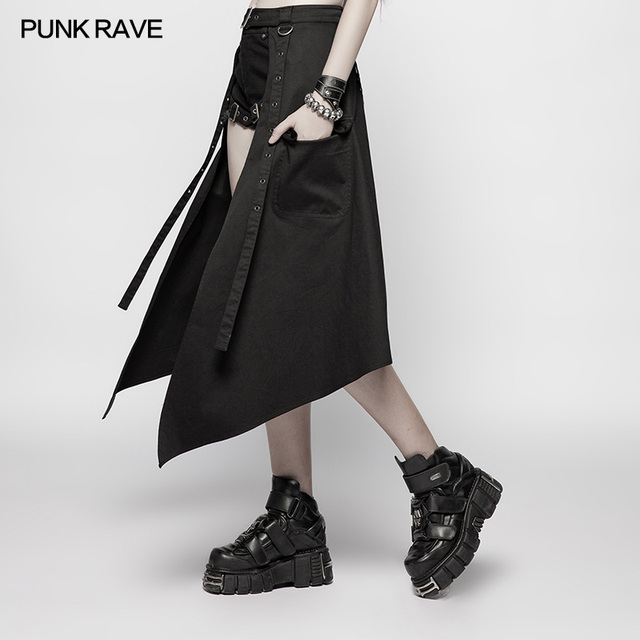 Punk Rave Daily Casual Hollow Out Fashion Steampunk Japan Style Sexy Women Half Skirt Accessories OQ380 1