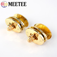 Meetee 5/10pcs Zinc Alloy Egg Shape Lock Buckles DIY Handbag Twist Turn Bag Wallet Closure Clasp Hardware Accessories BD365