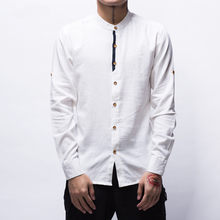 fc6e291437 Men s New Fashion Casual White Linen Shirts Long Sleeve Mandarin Collar  Solid Color Slim Fit Shirt Chinese Fashion Hemp Clothes
