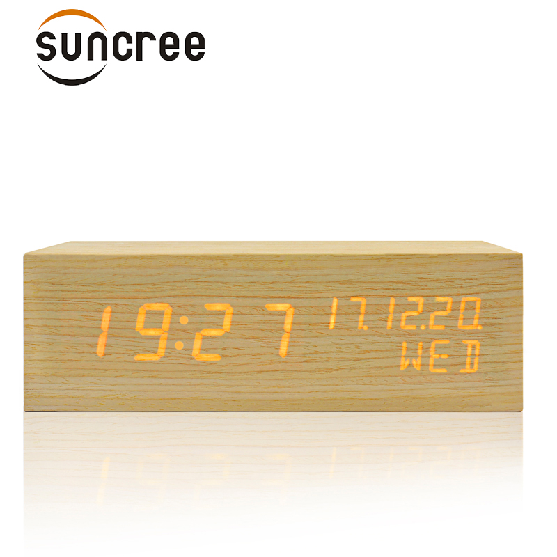 Suncree Solid Wooden Desk Digital Alarm Clock Sound Control,Tempreture Display,Orange Light New Promotion desktop alarm Clock
