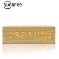 Suncree Solid Wooden Desk Digital Alarm Clock Sound Control,Tempreture Display,Orange Light New Promotion desktop alarm Clock