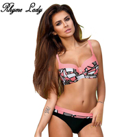 Rhyme Lady New Bikini Set Women Swimsuit Push Up 2018 Swimwear Cross Bandage Halter Brazilian Beach