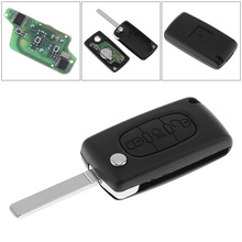 все цены на 433MHz 3 Buttons Keyless Uncut Flip Remote Key Fob with Light Button PCF7941 Chip and VA2 Blade  for Citroen Peugeot Vehicle онлайн