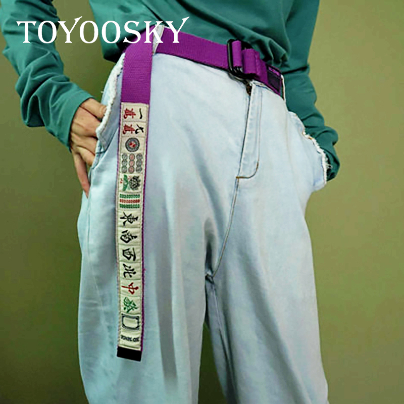 Apparel Accessories 2018 Harajuku Design Men Women Hip Hop Streetwear Purple Chinese Mahjong Letter Women Belt Canvas Women Waistband Belts Toyoosky High Quality And Inexpensive