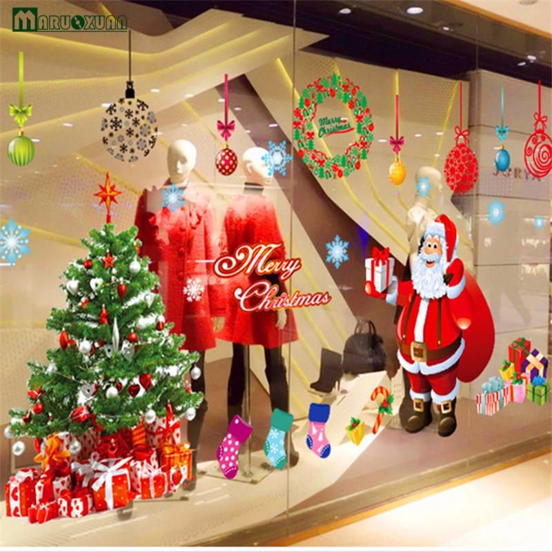 Large Santa Christmas Tree Wall Decals Diy Merry Christmas Wall Stickers Decorations For Home Shop Window Decals