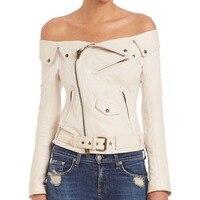 Для женщин Sexy моды с плеча Куртки из искусственной кожи панк-рок-ролл верхняя одежда плоские shouders тонкий мотоциклетная куртка Белый