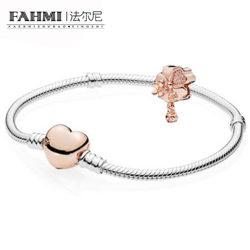 FAHMI 100% 925 Sterling Silver New 1:1 Rose Heart-shaped Floral Bracelet Set black heart shaped rose pattern retro bracelet