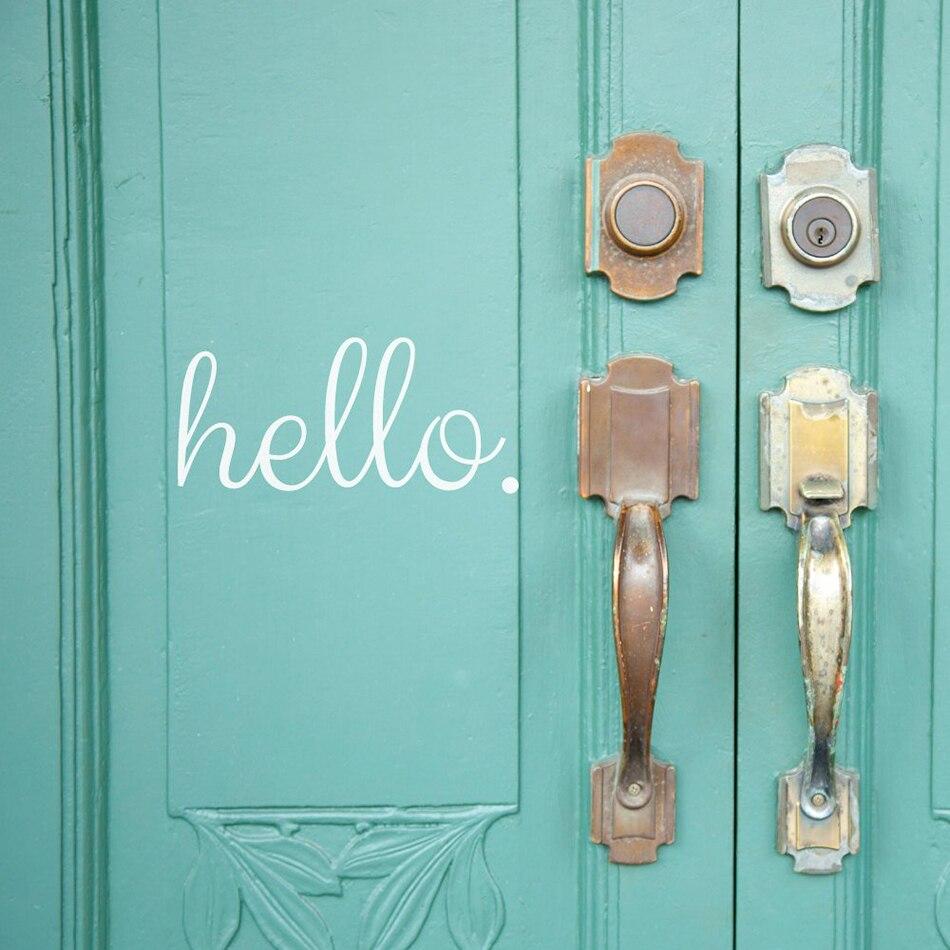 Hello Vinyl Door Sticker Mural For Front Door Window Glass Art Decal Bedroom Bathroom Door Home Decoration Poster W377