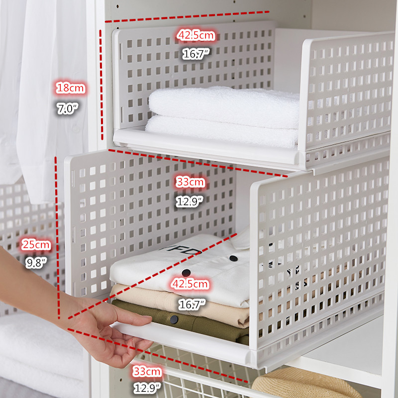 US $20.4 12% OFF|wardrobe partition board rack, drawer type clothes storage  box, bedroom cabinet, interlayer wardrobe, storage rack.-in Storage ...