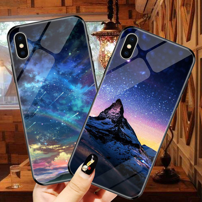 Goterfly For Ipone X XR XS MAX Hot Sale Space Tempered Glass Planet Stars HD pattern IPone Cover Back Case