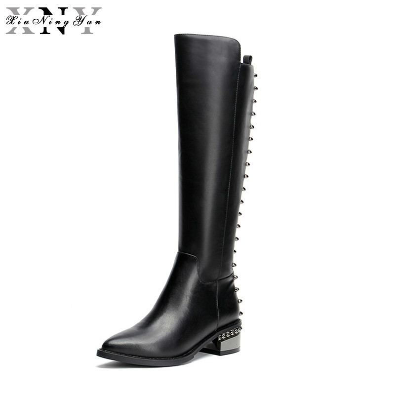XiuNingYan Genuine Leather+PU Rivets Women Knee High Boots Black Motorcycle Boots Zip Shoes Winter Boots Pointed Toe Size 33-43 2016 women knee high boots leather winter boots pointed toe zip casual shoes women high heels big size 32 45 black boots woman
