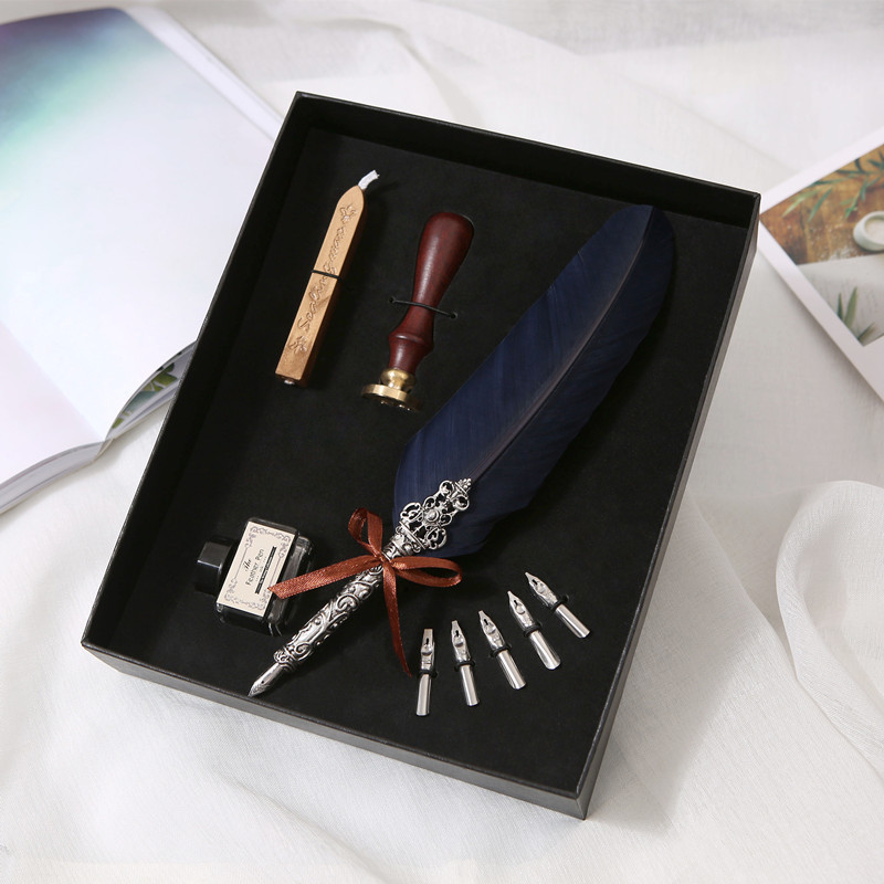 European and American retro feather gift pen set feather pen natural feather high-grade metal pen pen stationery set bnb europe and the united states creative craft feather pen ink set feather pen gift box new metal pen can be customized