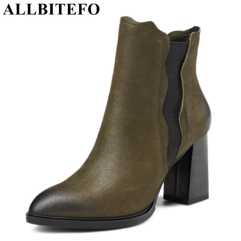 ALLBITEFO new winter genuine leather pointed toe thick heel women boots fashion high heels snow boots girls boots size:33-43 allbitefo golden zip decorate fashion spring winter snow shoes genuine leather pu women boots casual knee high boots size 33 43