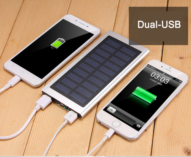 US $11 12 25% OFF|Ultrathin 20000mAh Portable External Battery Charger  Power Bank Solar External Battery 2 USB LED Powerbank Portable Mobile  phone-in