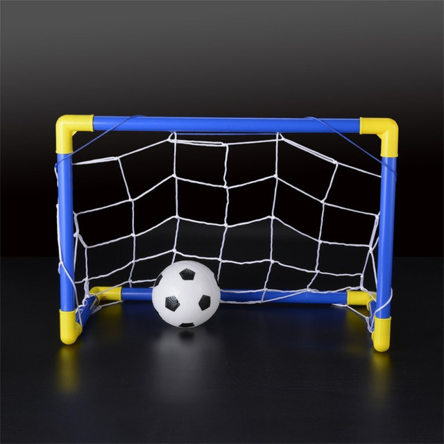 Folding Mini Football Soccer Ball Goal Post Net Set + Pump Kids Sport Indoor Home Outdoor Games Toys Child Birthday Gift Plastic