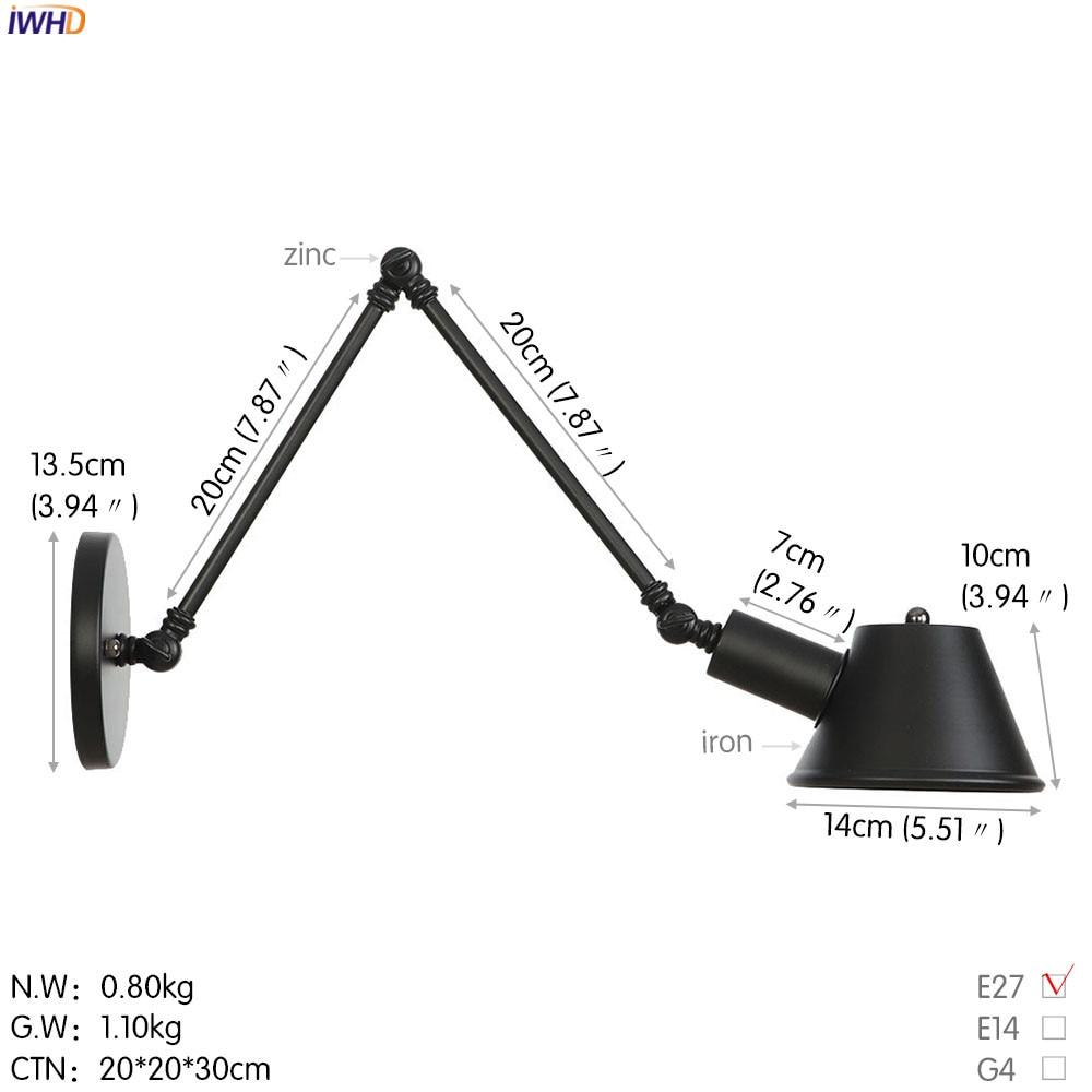IWHD черный железный промышленный светодиодный настенный светильник, Светильники для спальни, ванной комнаты, зеркало в стиле лофт, винтажный настенный светильник с аппликацией Эдисона Murale - Цвет абажура: Black