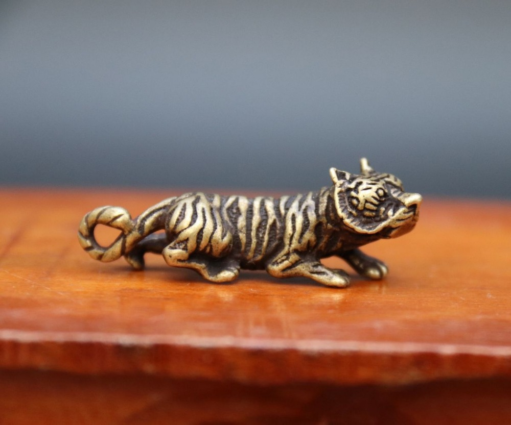 4.5 CM Pure Bronze Chinese Zodiac Animal Lucky Tiger Amulet Necklaces Pendant