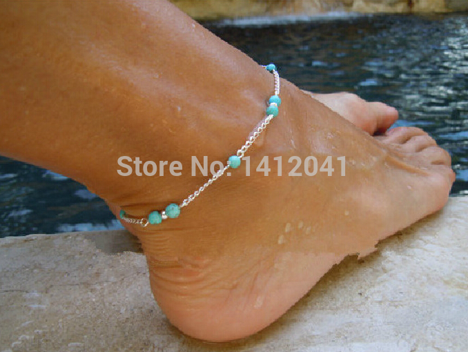 FD763 Fashion Fine Handmade Turquoise Bead Silver Chain Anklet Foot Leg Chain Bracelet 1PC