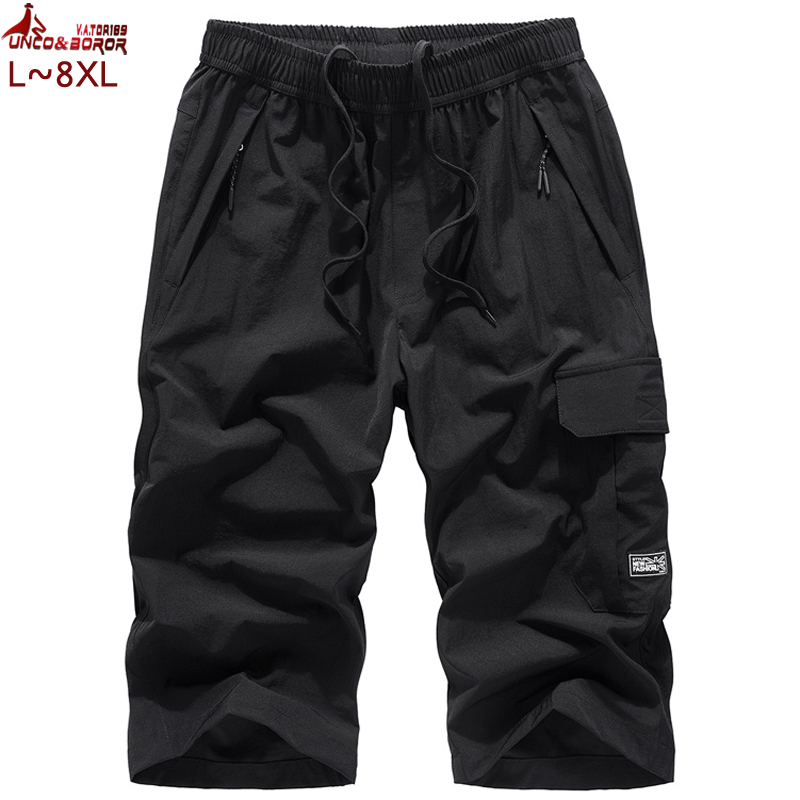 Plus Size 7XL 8XL Men`s Knee Lenght Cargo Shorts Casual Elastic Waist Fitness Bermudas Male Breathable Beach Surfings Shorts Men