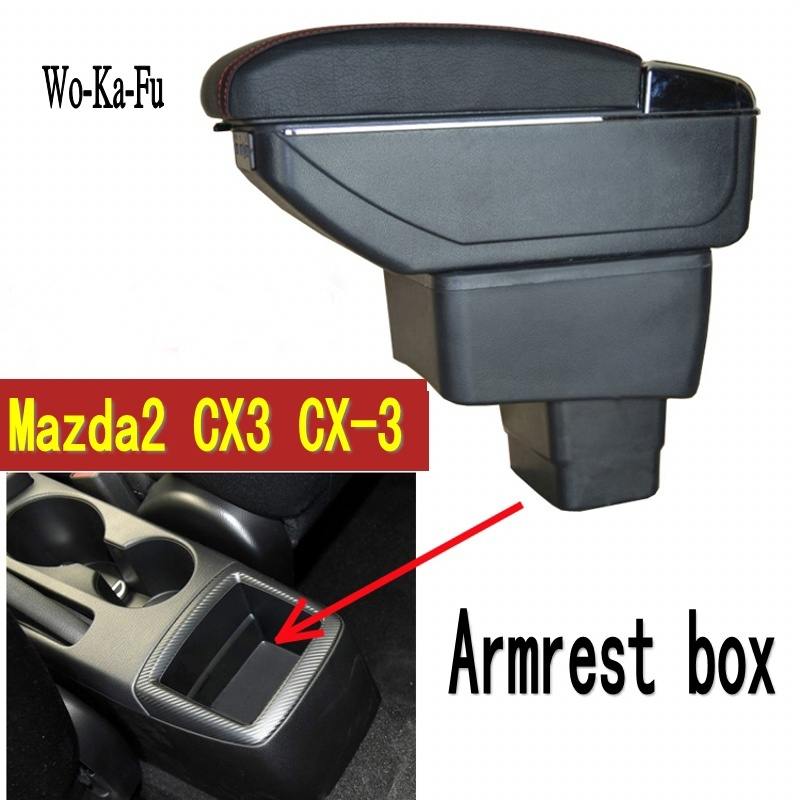 For mazda2 skyactiv version cx3 CX-3 armrest box central Store content box with cup holder ashtray USB cx 3 armrests box cx3 universal leather car armrest central store content storage box with cup holder center console armrests free shipping