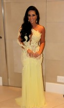 One Shoulder See Through Mermaid Dresses For Evening Party Lace Appliques 2015 New Vestidos Formales Gowns
