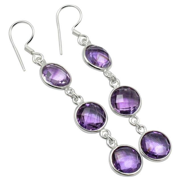 Lovegem Genuine Amethyst Earrings 925 Sterling Silver 58 Mm Ae1931