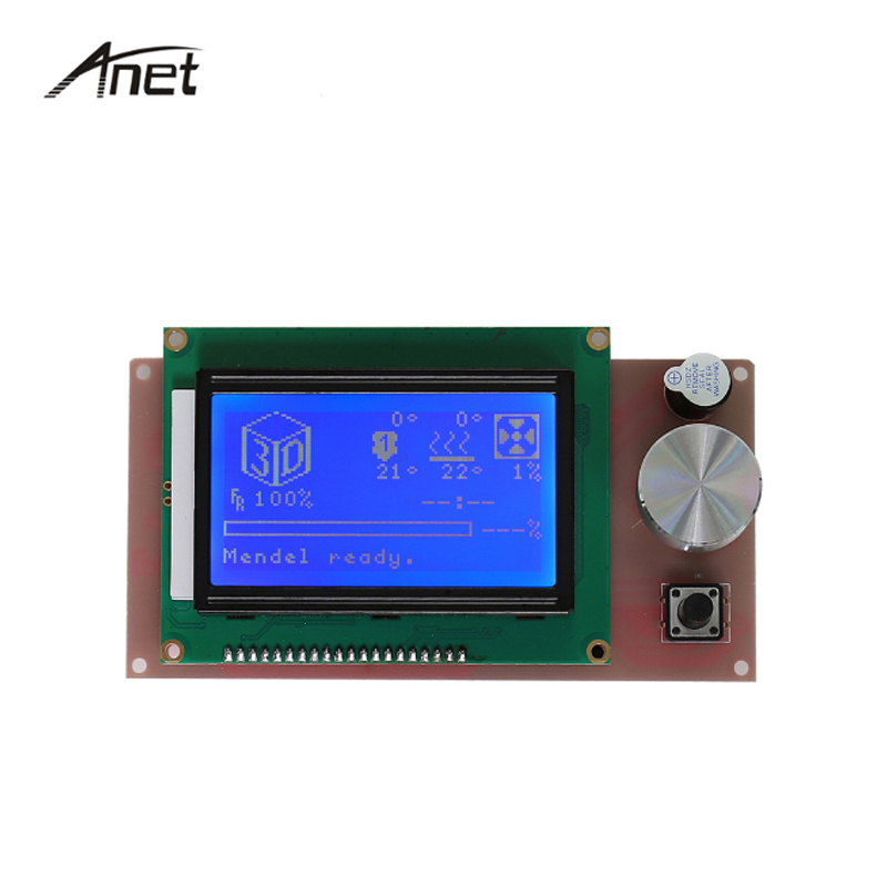 1Pcs Anet 3D Printer Part Controller RAMPS 1 4 LCD 12864 Control Panel Blue Screen For
