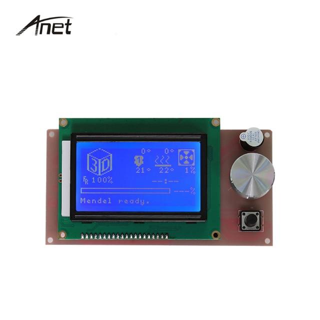 Anet Parte Controlador de impresora 3D RAMPAS 1.4 LCD 12864 Control Panel Azul Pcreen Para impresora 3D Reprap Prusa i3 Anet A6