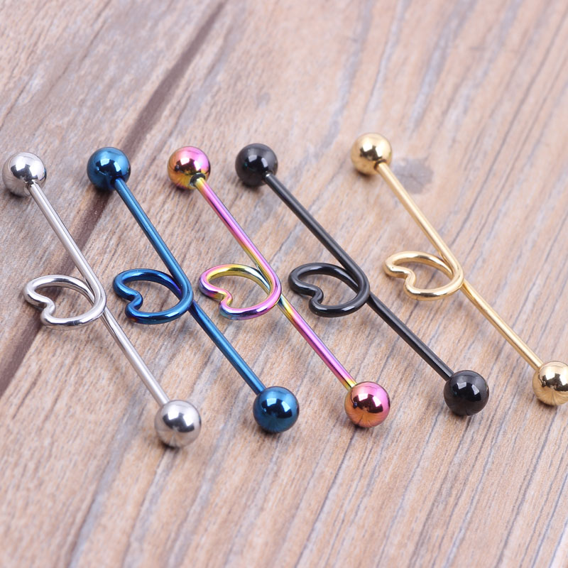14g 44mm Heart Surgical Steel Barbell Ear Ring Bar Mix 5 Color For Body Piercing Jewelry In From Accessories On