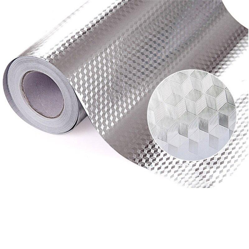 3 autocollants de cuisine de papier d'aluminium de taille autocollant de décoration de Maison autocollant mural imperméable auto-adhésif pour la preuve d'huile de cuisine