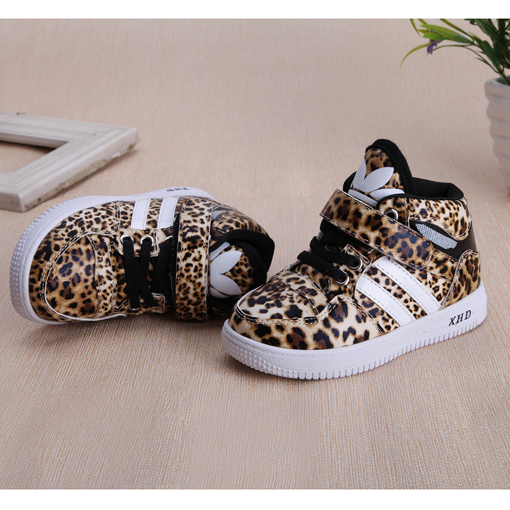 buy online unique design high quality Children Shoe Boys Girls Sneakers Girls PU Leopard Print ...
