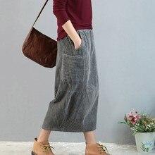 Вельветовая Женская винтажная юбка Мори для девушки осень зима