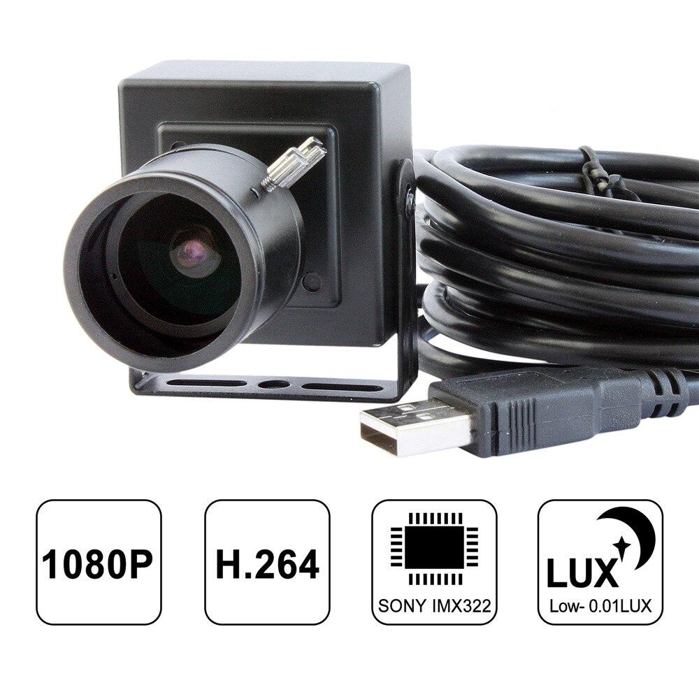 ELP 2 mégapixels full HD 1080 P faible éclairage H.264 caméra vidéo usb avec objectif varifocal 2.8-12mm