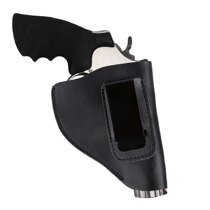 Universal Hidden Tactical Genuine Cowhide Leather Black Revolver Holster With Metal Clip Hand Gun Pistol Carrier