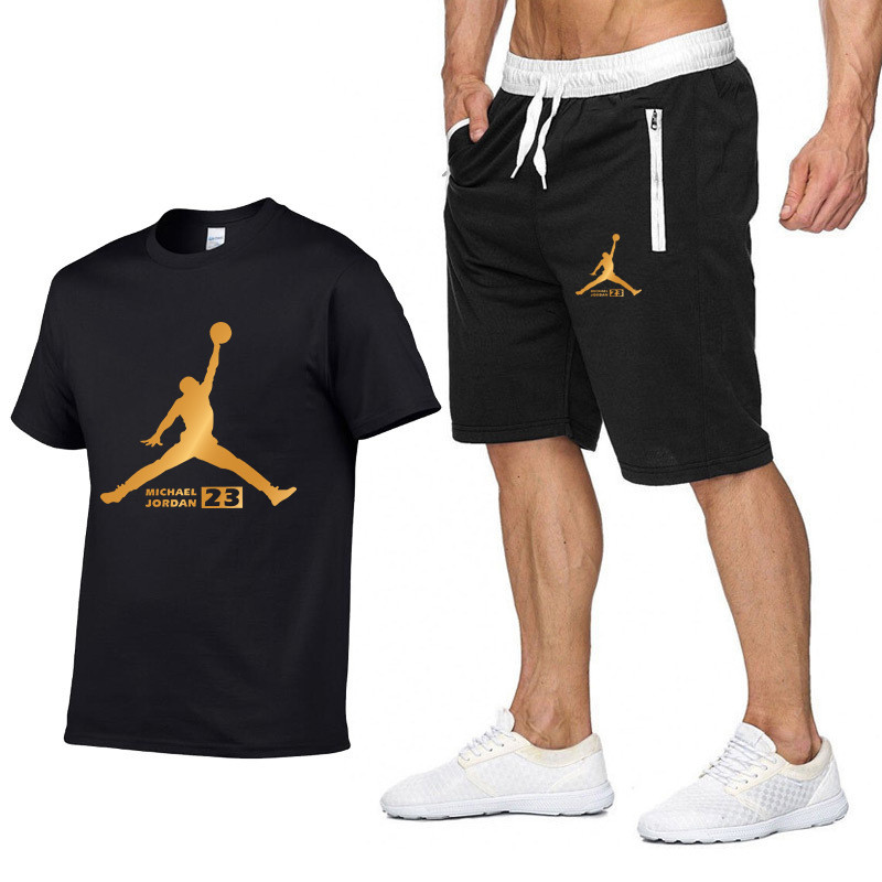 JORDAN 23 Print Tracksuit   T     Shirt  +Shorts fashion Trends In 2019 Fitness Cotton Brand tshirts for Men Bodybuilding clothing M-XXL