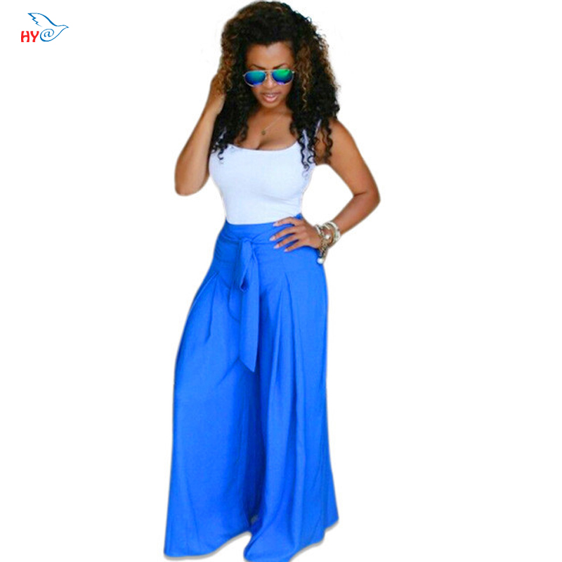 White Off The Shoulder Sleeveless Sexy Tank Tops+Blue Loose Wide Pant Set Bow Belt Decoration 2 Piece Set Summer Fashion Women